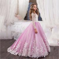 Long Sleeve 2018   Flower     Girl     Dresses   For Weddings Ball Gown Tulle Lace Baby Long First Communion   Dresses   For Little   Girls