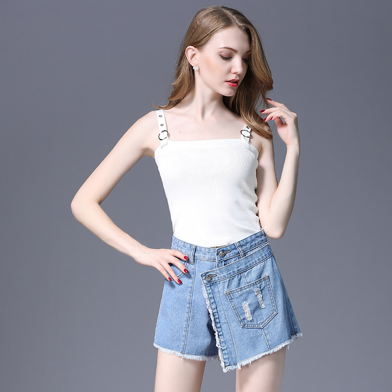 Frayed Overlap Denim Skirt 2018 Summer Blue Wrap High Waist Women Bottom Casual Short Shift A-Line Skirt Saia Jeans Feminina