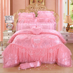 Luxury wedding bedding set 4/6/9pcs silk cotton Jacquard duvet cover red pink lace bedlinen bedspread