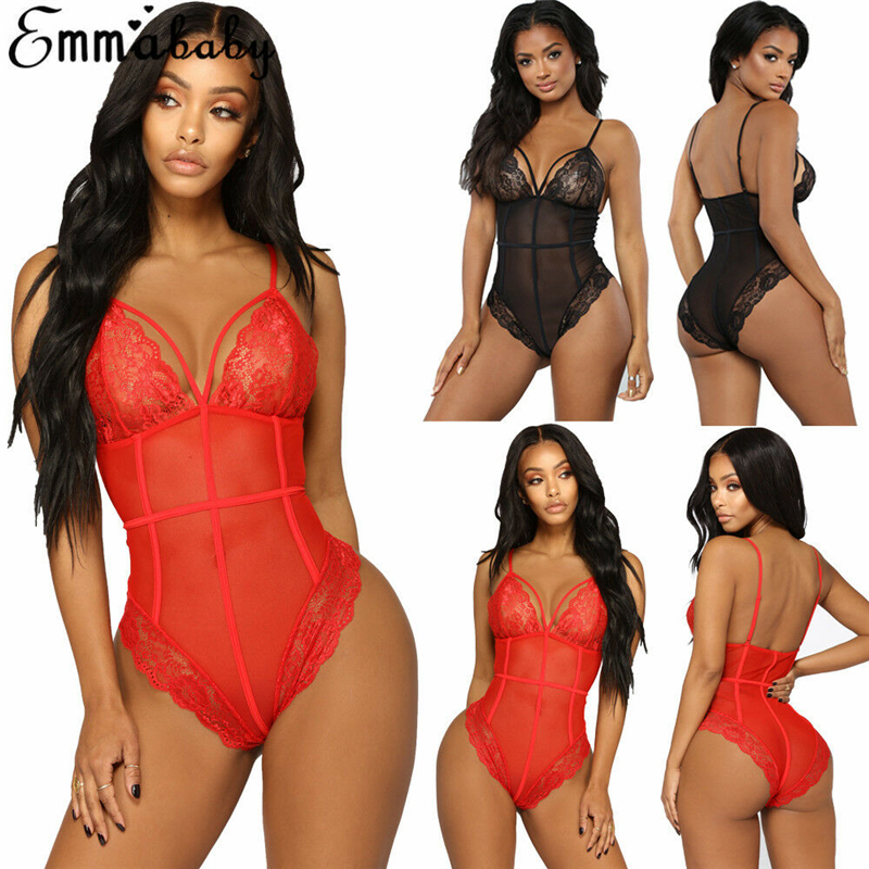 Red&Black Body Sexy Lingerie Lace Bodysuit Deep V-neck Sexy Underwear Women Slim Babydoll Lingerie Sexy Hot Erotic Catsuit S-XL