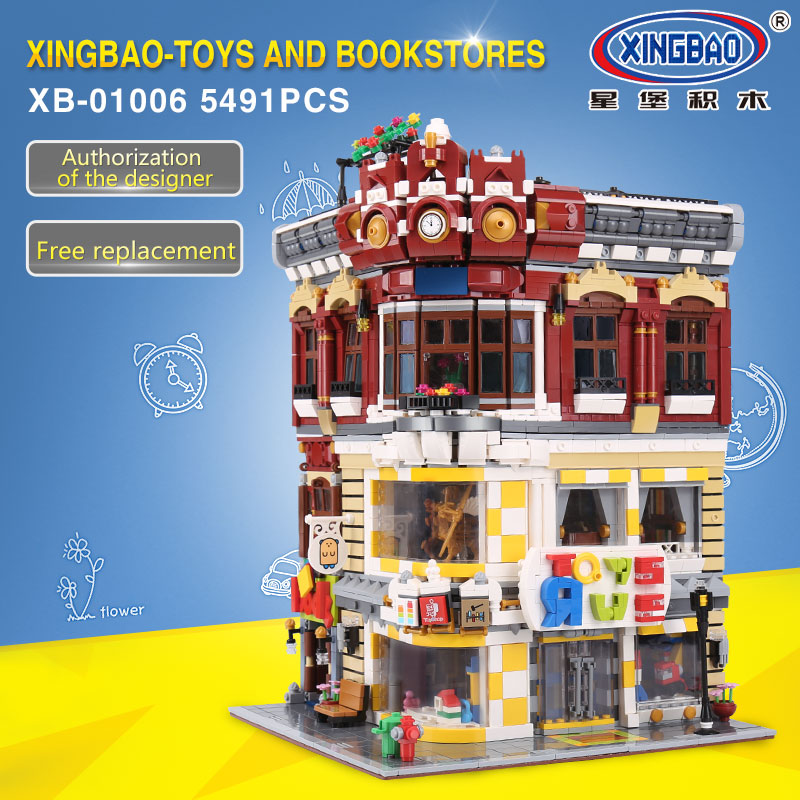 XINGBAO 01006 5491Pcs Genuine Creative MOC City Series The font b Toys b font and Bookstore