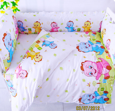 Promotion! 9pcs Pink Cotton Baby Crib Bedding Set Girl Printing Baby Bedding Sets Cots For Newborn,4bumper/sheet/pillow/duvet pink french toile fitted crib sheet for baby and toddler bedding sets by sweet jojo designs toile print