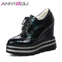 ANNYMOLI Women Pumps Platform Wedge Heels Designer Shoes Extreme High Heel Lace Up Pumps 2018 Spring Female Shoes Big Size 33 42