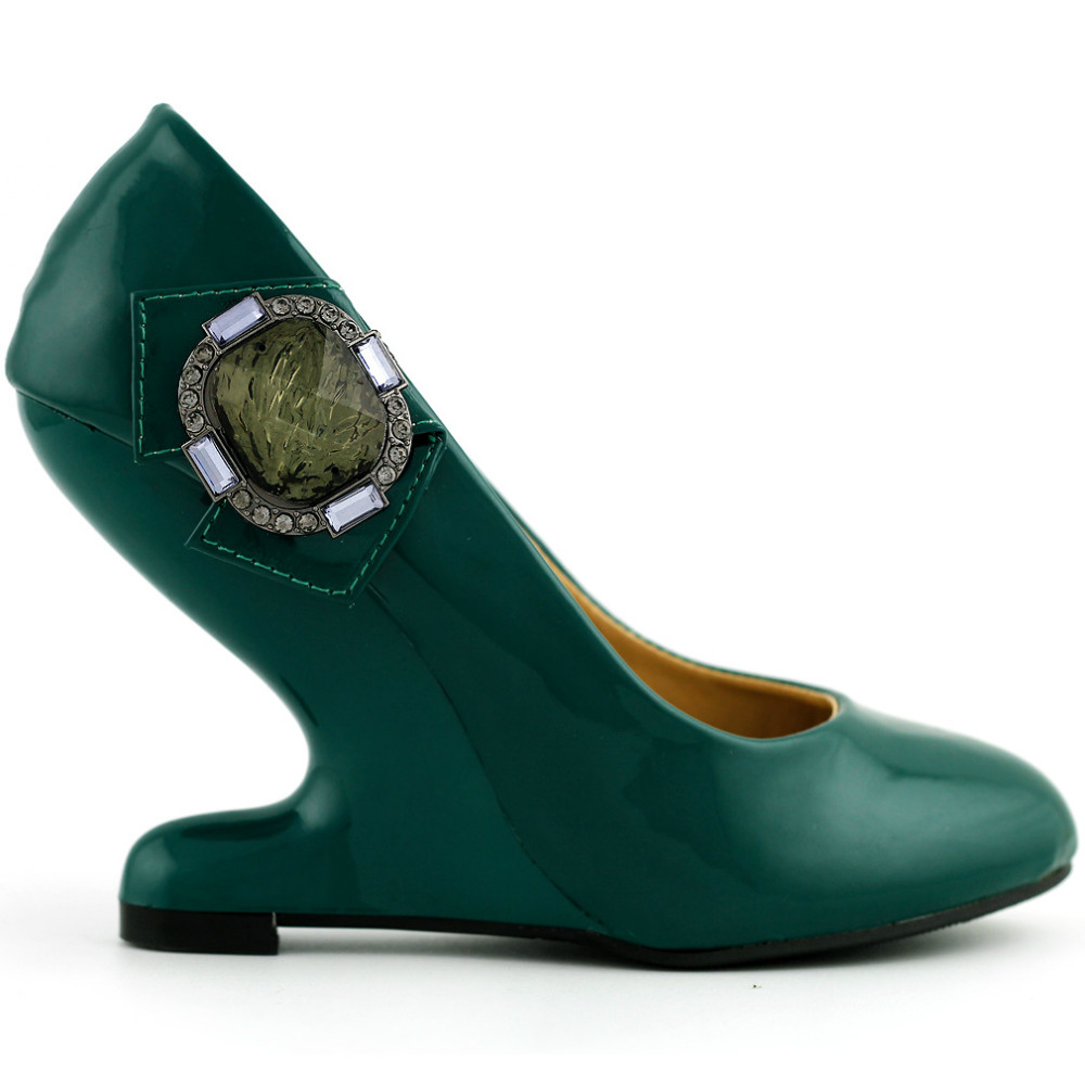 ФОТО LF30205 Womens Rhinestones Curved Heel Less Wedge Evening Party Shoes Yellow/Dark Green