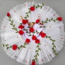 Vestido de balé profissional, vestido de balé com flores brancas para meninas e crianças, traje de dança