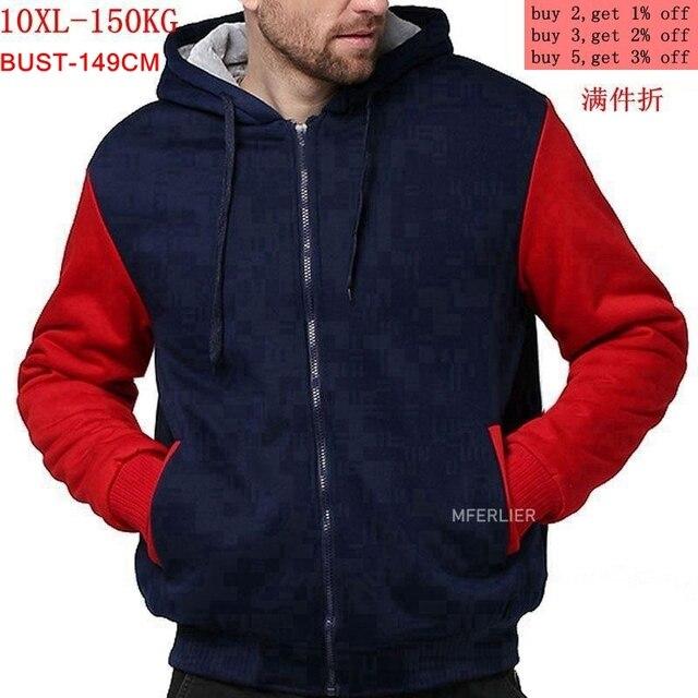 ผู้ชายขนาดใหญ่เสื้อ7XL 8XL 9XL 10XLฤดูใบไม้ร่วงและฤดูหนาวแขนยาวซิปหนาขนแกะสีฟ้าสีแดงMatc
