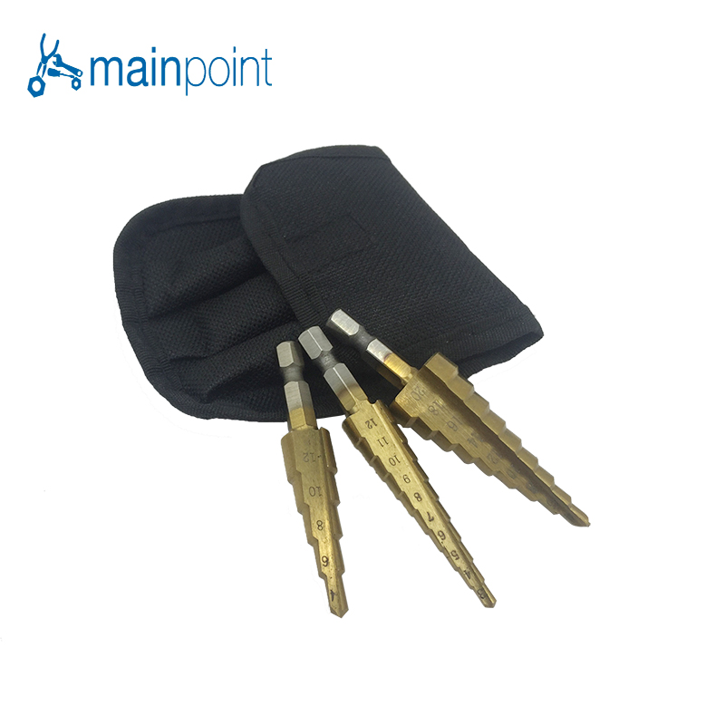 Mainpoint 3pcs Titanium Hss Stepped Down Drills Coated 1/4Metric Imperial System Step Drill Bits Hex Shank Quick Release Tool g 3pcs set quick change hex shank larger titanium coated m2 tool step drill bit set 71960 t