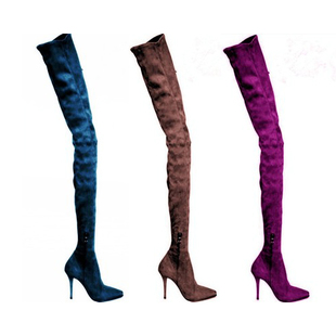 2018 Over The Knee Boots Slim Tight High Heel Boots Pink Suede Winter Shoes Women luxury purple floral highland sheep suede boots cat out flower spring winter over the knee boots women brand shoes nancyjayjii
