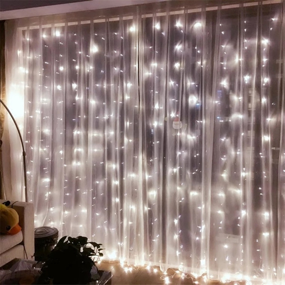 ANBLUB New Year 3M X 3M LED Window Curtain String Light Outdoor 8 Mode 300led Fairy Lights For Christmas Wedding Home Decoration