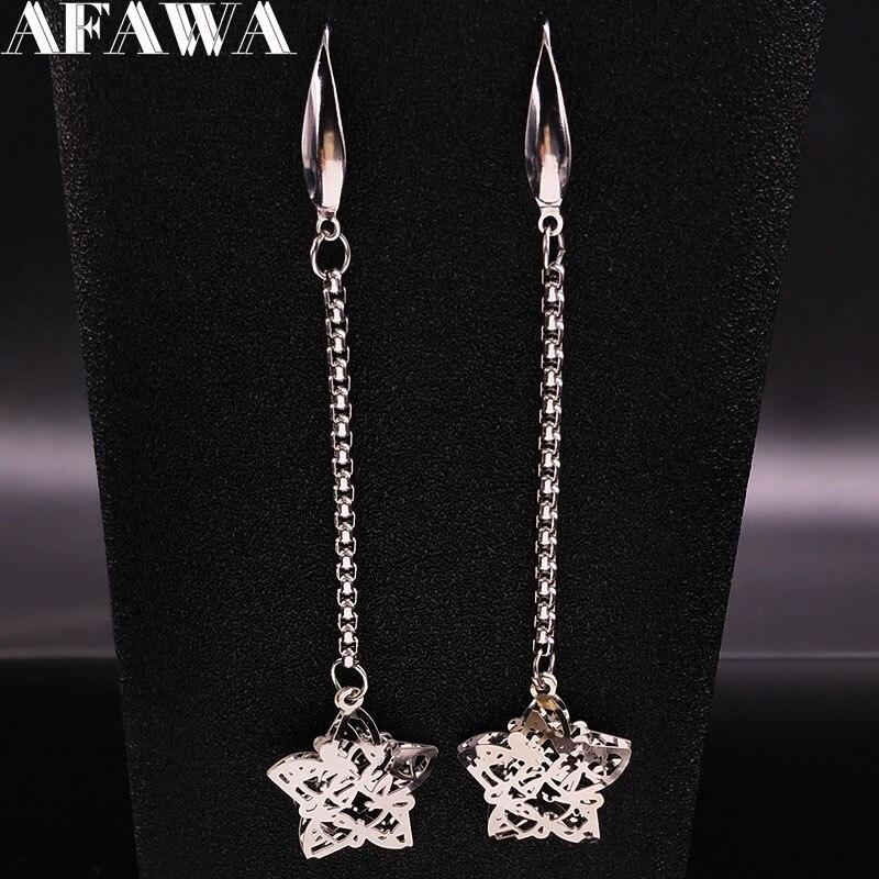 Pendientes largos llamativos de acero inoxidable con forma de estrella para mujer, aretes colgantes, Color plateado, E1432S01, 2021