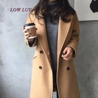 2017 New Spring Woolen Coat Trench Women Slim Double Breasted Black Winter Coats Long Outerwear For