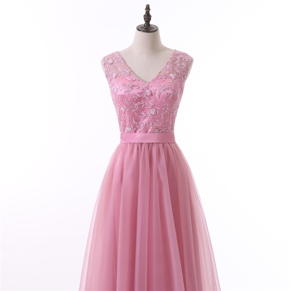 Pink A-line V-neck Cap Sleeves Tulle Embroidery Long Bridesmaid Dress
