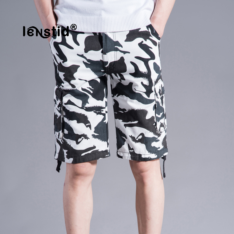 LENSTID 2018 Summer New Good Quality Military Camo Cargo Short Men Military Camouflage Cotton Outwear Men Trousers Shorts 42 44