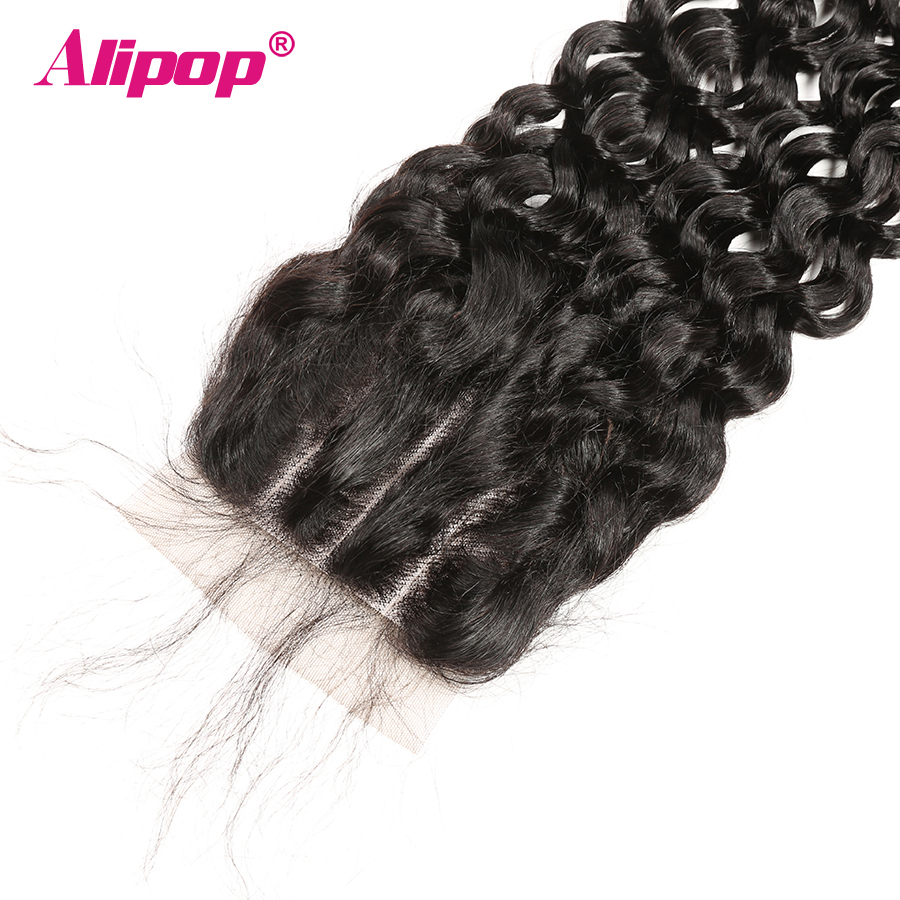 Alipop 5x5 Lace Closure Water Wave Closure Brazilian Hair MiddleFree3 Part 10-18 20 Inches Preplucked Remy Human Hair Closure (22)