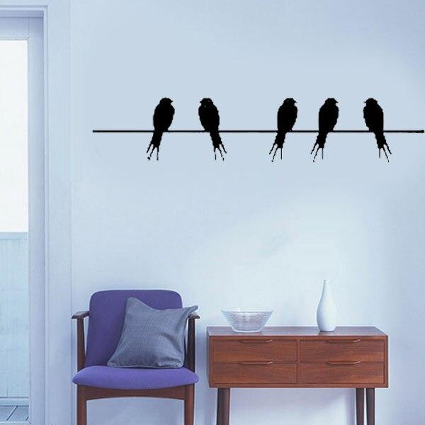 Burung Pada Kawat Stiker Dinding Keren, Decals Dinding
