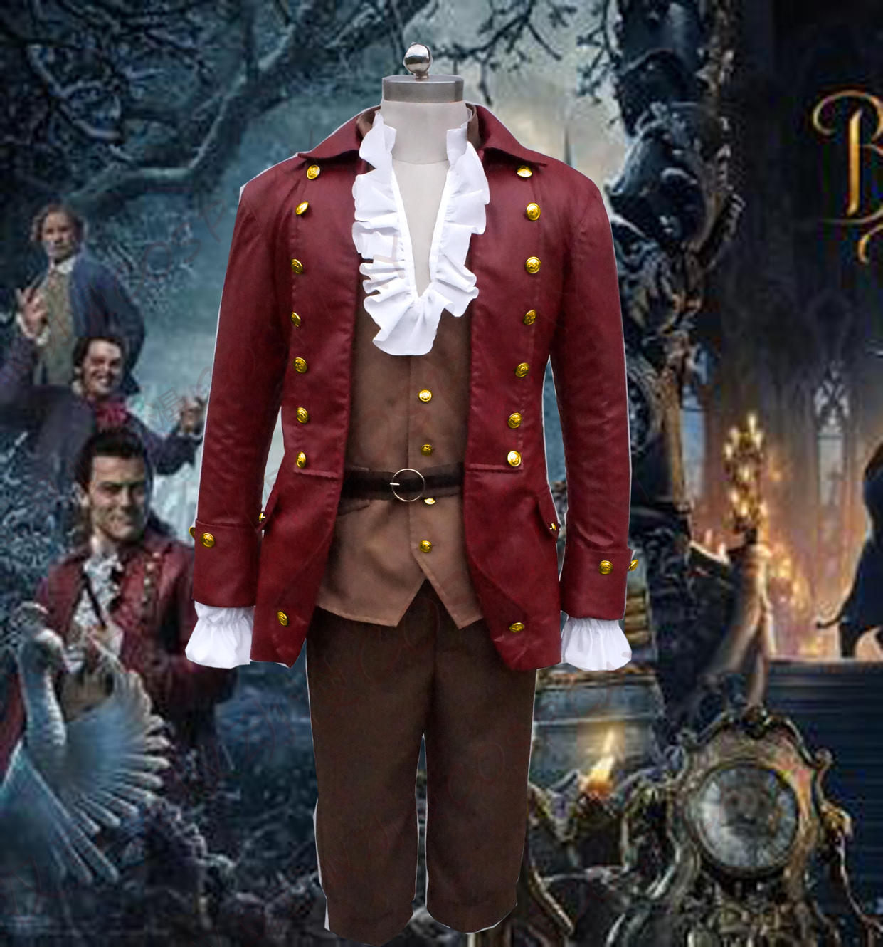 2017 Movie Beauty and The Beast Handsome Gaston Costume Men Cosplay Leather Suit Luke Evans outfits  any size/Custom-made