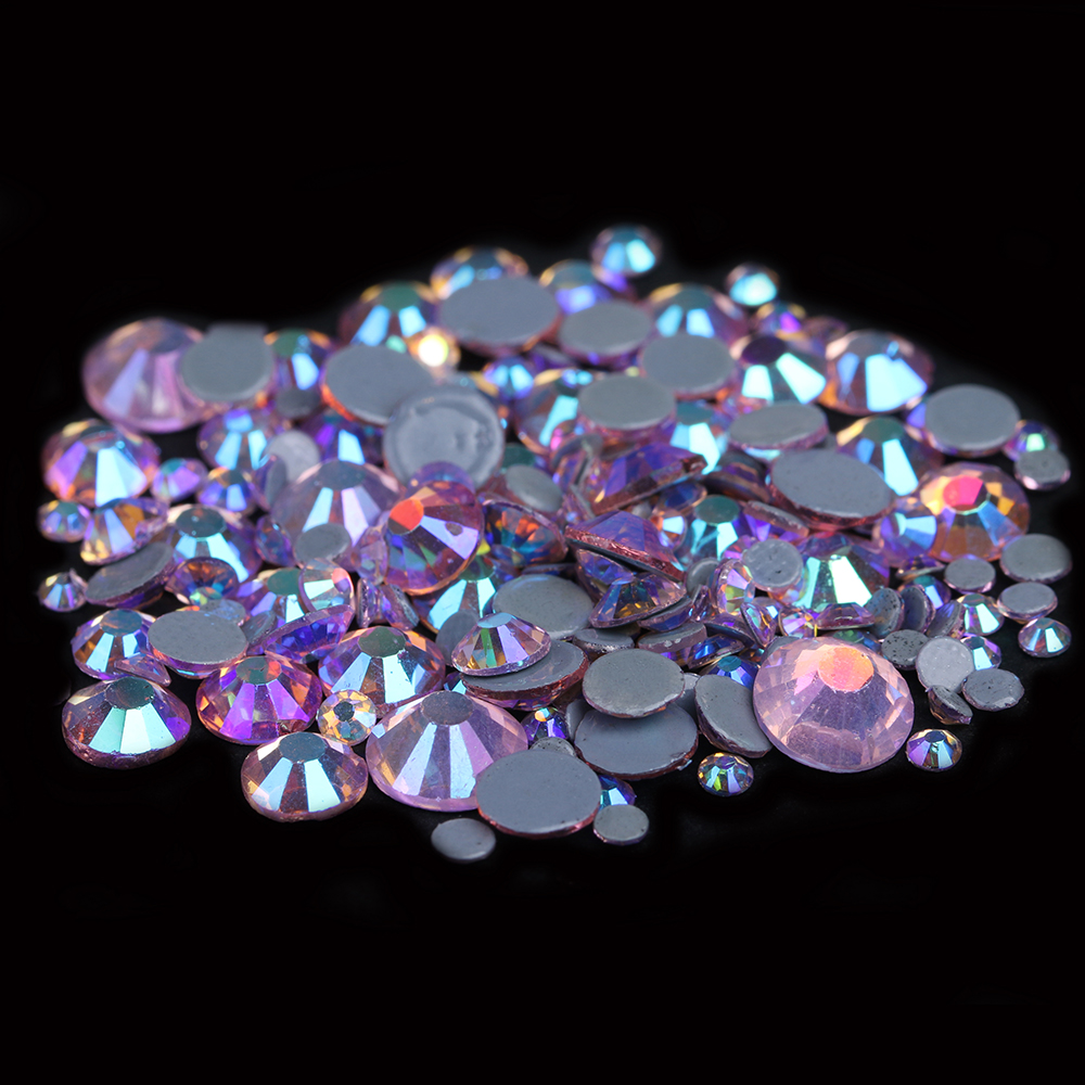 Glass Rhinestones With Glue Backing Flatback Iron On Hotfix Strass For Clothes Shoes New Rhinestones Light Rose AB Color мозайка glass glue