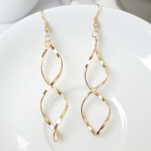 Fashion Double Loop Drop Earrings For Women Long Wave Dangle High Quality Statement Wedding Jewelry Wholesale