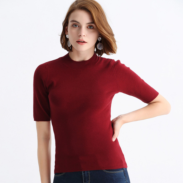 a84c965dc Wool Soft Elastic Sweaters and Half high collar Short Sleeve Spring Autumn  Women Cashmere Sweater Female Brand sweater tops