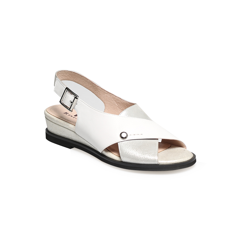 LIDIAN 2019 Cross strap Summer Sandals Two Band Buckle straps White Silver Gold colors Wedge sole women