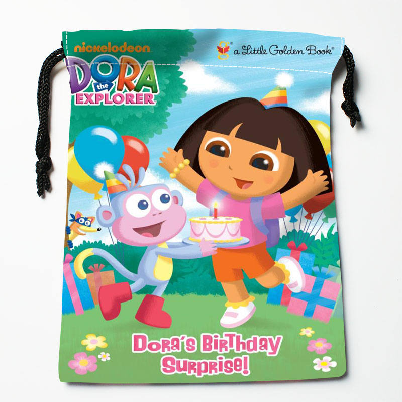 High quality Custom Dora Diego printing storage bag drawstring bag gift Satin bags 27x35cm Compression Type