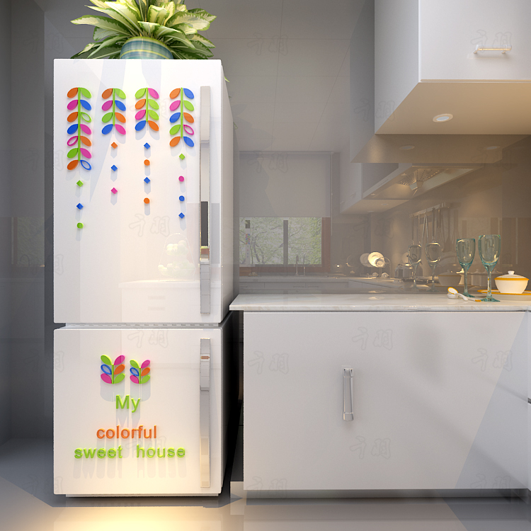 Colored leaves Creative door stickers, 3D acrylic wall stickers Refrigerator stick - 4