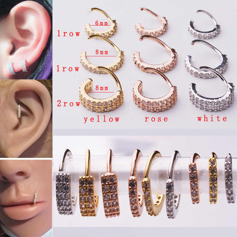 Sellsets 2018 New arrival 1piece single & double layers rose & yellow gold color cz daith earrings ear piercing septum ring
