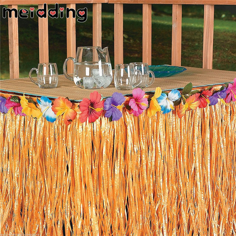 MEIDDING Colorful Flowers Artificial Grass Table Skirt Hawaiian Tropical Party Decor Wedding Party Summer Pool Party Supplies