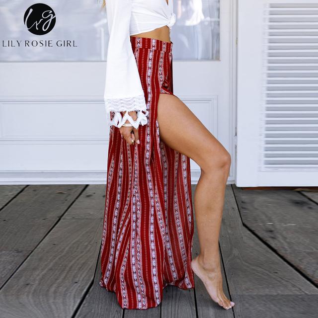 Lily Rosie dziewczyna Boho Print paski kobiety szerokie nogi spodnie 2018 lato sexy Split długi spodnie Wysoka talia casual Beach kobiet