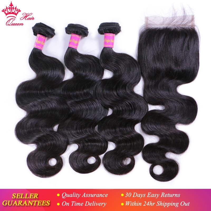 Queen Hair Products Brazilian Virgin Hair Body Wave Brazilian Hair Weave Bundles Unprocessed Human Hair Extension