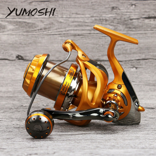 YUMOSHI New Superior Carbon Metal LK-WF4000-9000 Spinning Fishing Reel 10 BB Series Boat Fishing Casting Fly Sea Cup Wheel new type superior metal arm 13 1bb 4000 7000 series surf spinning fishing reels big long shot casting fly sea wire cup wheels