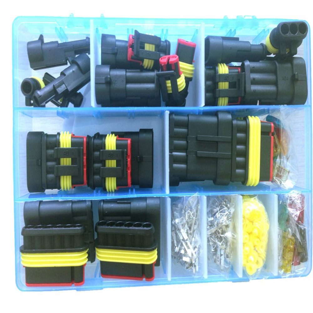 medium/small size terminal connector silicone sealed electrical connector  plug fuse box set waterproof car motorcycle truck boat-in cables,