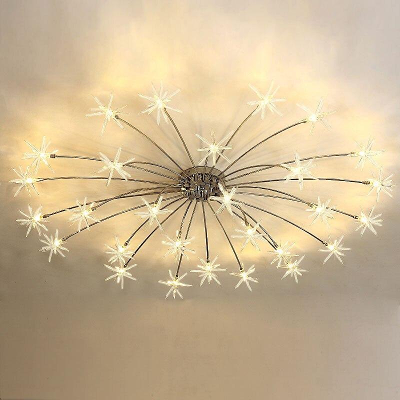 Modern Led Ceiling Light Ice Flower Glass Bedroom Kitchen ...