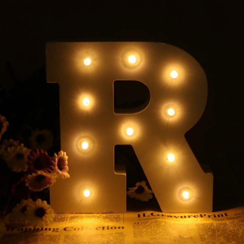 6 белый деревянный Буква R LED знаковое событие Алфавит Light стены DIY украшения загораются ночник