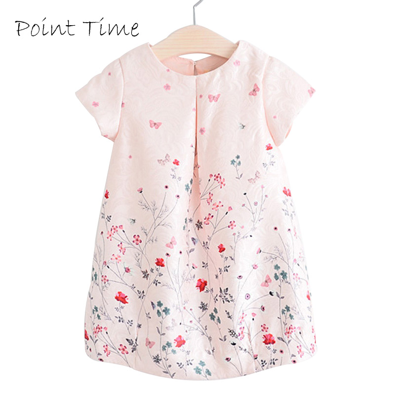 2016 New Style Summer Flower Dress Pink Cotton A-Line Short Sleeve Girls Costumes Girl Princess Dresses Robe Fille Enfant 8205
