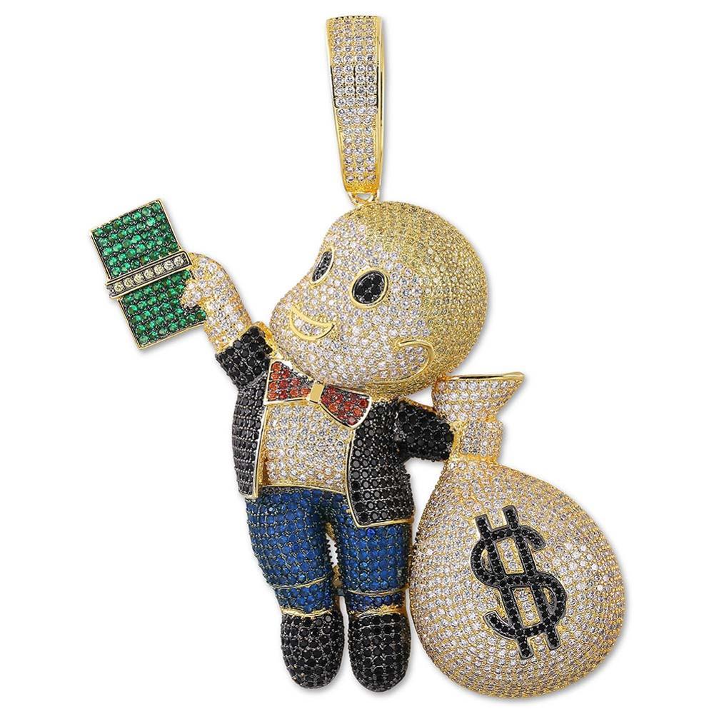 Takı ve Aksesuarları'ten Sallantılı kolye'de TOPGRILLZ Dollar Gangster kid Pendant Necklace Men Iced Out CZ Chain Hip Hop/Punk Gold Silver Charm Necklace Jewelry Party Gifts'da  Grup 1