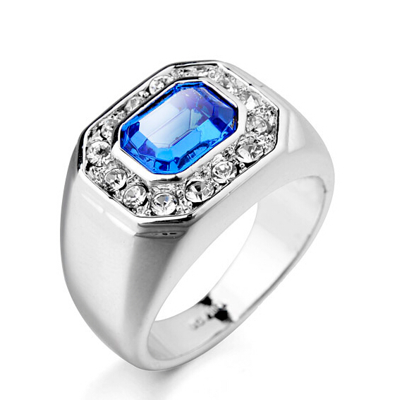 9 Size White Gold Color Man Ring Blue Stone Wedding Rings For Men