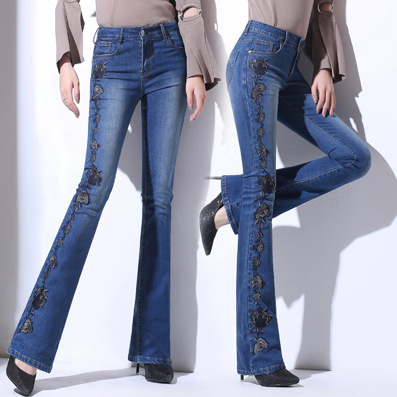 High Waist Plus Size Women Jeans Embroidery Vintage Pockets Female Flare Pants Slim Chic High Quality Trousers MK0070 2017 vintage flower embroidery jeans female pockets straight jeans women bottom blue casual pants capris summer p3748