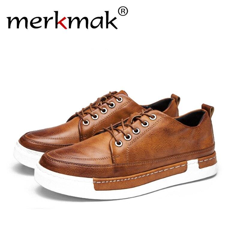 Merkmak Plus size 43-48 Spring Autumn New Retro Style Men's Casual Shoes Fashion Comfortable Men Loafer Casual Shoes