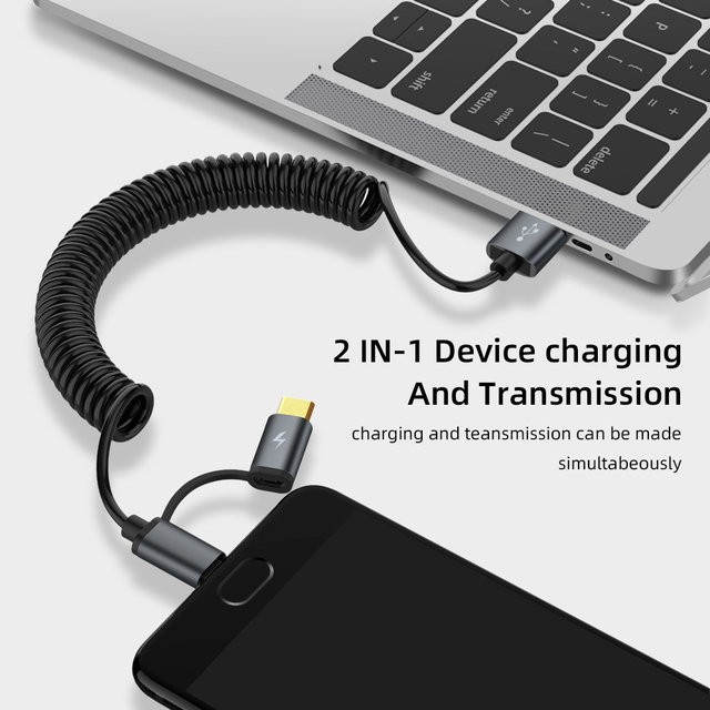 2 in 1 Spring Type C Cable Micro usb Fast Charger Cable For Samsung Xiaomi Huawei USB C 2 in-1 Cord Retractable Microusb Cabo