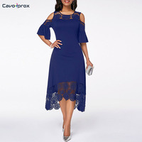 Women Cold Shoulder Flare Cuff Lace Panel Dress A Line Patchwork Mid Calf Elegant Plus Size O neck Summer Party Dress
