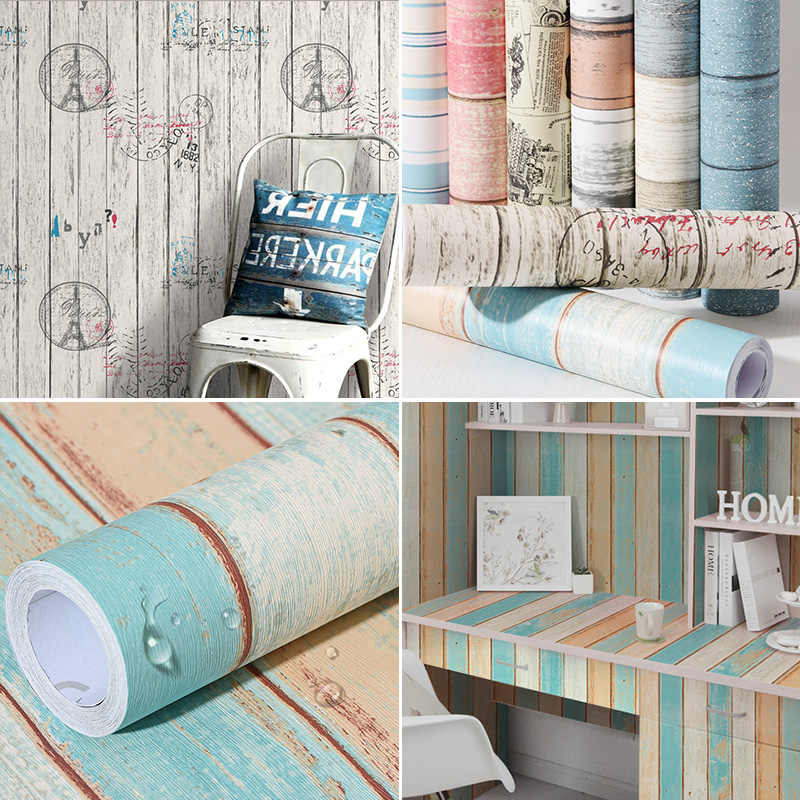 Self - adhesive wood wallpaper college students dormitory wall furniture renovation stickers table wardrobe door PVC -48