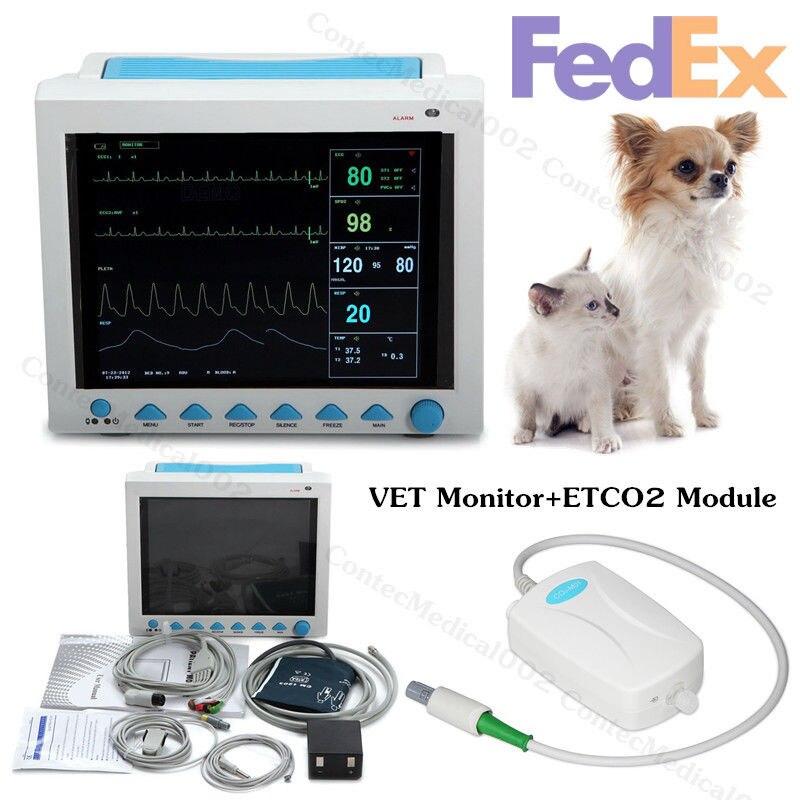 CONTEC Marque Nouveau Vétérinaire Portable Moniteur Patient CMS8000VET, ETCO2 Module, 7 PAR, ECG NIBP SPO2 PR REEE TEMP