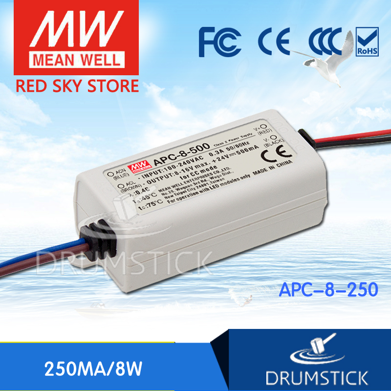 Best-selling MEAN WELL APC-8-250 32V 250mA meanwell APC-8 32V 8W Single Output LED Switching Power Supply original meanwell led driver apc 16 700 16 8w 9 24v 700ma led power supply constant current mean well apc 16 ip42