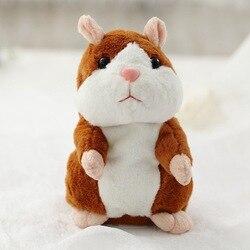 Promotion 15cm parlant Hamster parler parler enregistrement sonore répéter peluche Animal Kawaii Hamster jouet pour enfants enfant cadeau de noël