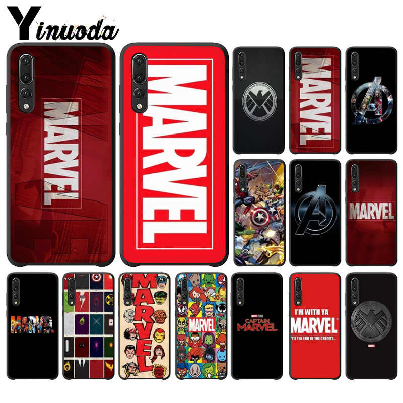 Yinuoda Marvel Comics logo Black TPU Soft Rubber Phone Cover for Huawei P10 plus 20 pro P20 lite mate9 10 lite honor 10 view10