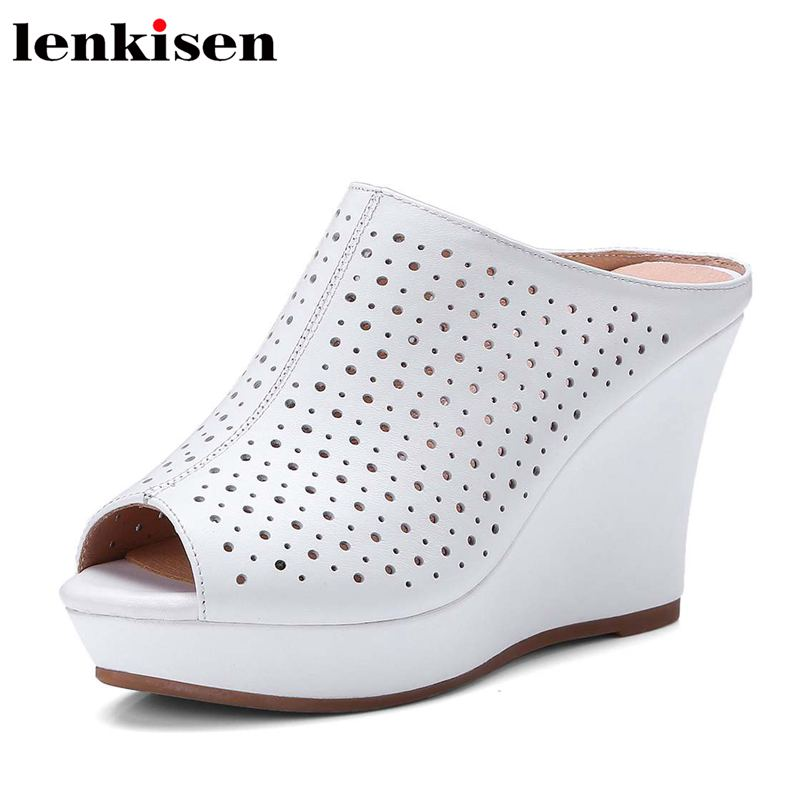 Lenkisen big size cow leather solid peep toe super high heels slip on platform wedges women runway streetwear party sandals L3f2 lenkisen genuine leather big size wedges summer shoes gladiator super high heels straw platform sweet style women sandals l45