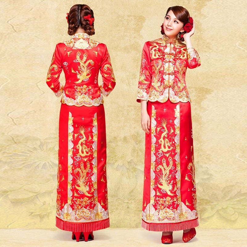 Dragon Dress Chinese Traditional Suit Women Phoenix Satin