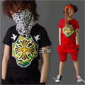 Crianças roupas de verão conjuntos menino meninas t-shirt + Shorts 2 Pcs Set ternos do esporte roupa do bebê terno crianças Hip Hop estilo treino Q83