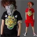 Summer Kids Clothes Sets Boy Girls T-shirt+Shorts 2 Pcs Set Sport Suits Baby Clothing Suit Children Hip-Hop Style Tracksuit Q83